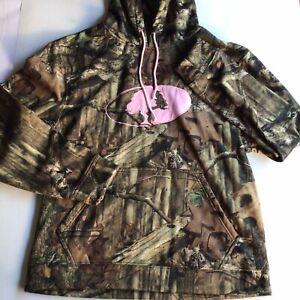 Mossy Oak Logo Hoody Sweatshirt Large Camo Pink Hunting Shooting Camping