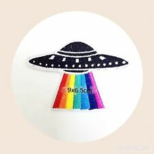 4x UFO Rays Planet Space DIY Sneaker Fashion Embroidered Applique Iron On Patch