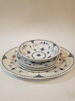 Furnivals Blue Denmark Lot Of 6, Serving Platter 4 Salad/Bread Plates Soup Bowl