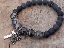 Mens Gemstone Healing Surfer Bracelet  8mm Blackstone & Snowflake Obsidian Beads