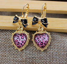 New Beautiful Betsey Johnson Leopard love heart Bowknot earrings N378 BJ