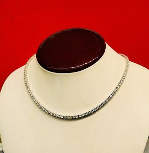 14K White Gold Over 925 - 14 Carat Round Cut VVS1/D Diamond Tennis 3mm Necklace