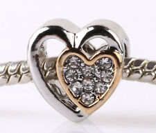 925 Sterling Solid Silver CZ Bead Golden Hearts Charm Fit European Bracelet A188