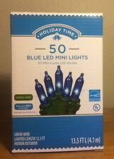 Holiday Time 50 Blue LED Mini Lights-Christmas-Wedding-NEW-Green Wire