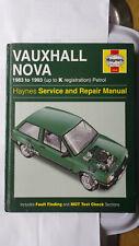 VAUXHALL NOVA WORKSHOP MANUAL L GL GTE GSi SALOON HATCHBACK VAN 1983 - 1993