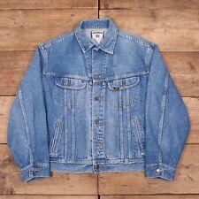 """Mens Vintage Lee 1990s Stonewash Blue Denim Trucker Jacket XL 48"""" R9808"""