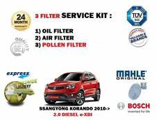 FOR SSANGYONG KORANDO 2.0 DIESEL e XDI 2010-> OIL AIR POLLEN FILTER SERVICE KIT