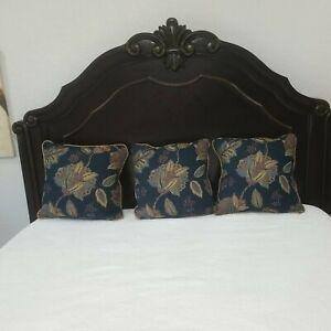 "3 Vintage Croscill 18"" Square Decorative Pillow Blue Floral"