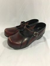 DANSKO Womens Burgundy Red Leather Mary Janes Stapled Clogs Size EUR 37