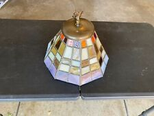 Vintage STAINED GLASS Tiffany Style Hanging Chandelier works great just plug in