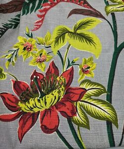 Vintage 1950s Kon-Tiki Cofabco Hawaiian Tiki MCM Grey Hibiscus Barkcloth Fabric