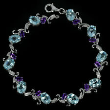 Sterling Silver 925 Sky Blue Topaz & Amethyst Leaf Design Bracelet 8 Inches