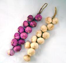 2x Artificial Garlic string decoration 12 realistic bulbs on a raffia plait 50cm