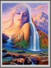 SPIRITUAL 3D Lenticular Poster- Nature - Woman, Waterfall, Mountains 12x16