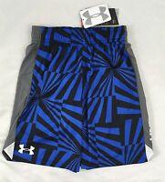 Under Armour BOYS Youth Athletic Loose Shorts Geometric Print Blue Black Size XL