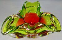 Chribska Czech Bohemia Crystal Green & Red Glass Tricorn Bowl Josef Hospodka