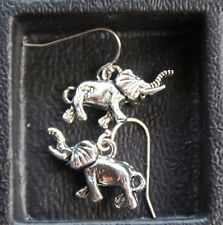 925 sterling silver earrings Charm Elephant 3D pewter 1 pair Nature Africa