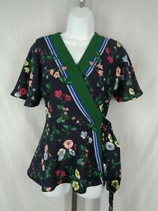 Ann Taylor Floral Wrap Top Blouse Size XS Flutter Sleeve New