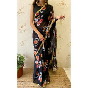Georgette Saree Light Weight Party Fancy Border Floral Printed Ethnic Wear Sari