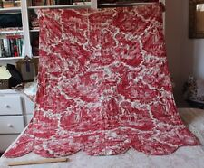 French Antique 18thC Quilted Toile De Jouy Bed Panel~Animals & People
