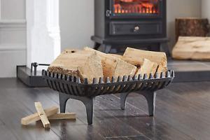 Vintage Freestanding Cast Iron Fire Log Coal Wood Holder Basket Fireplace Grate