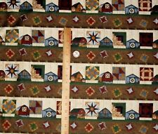 Quilt Trails Landscape Karen Combs Troy Riverwoods Stripe Barn Quilts Fabric BTY
