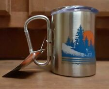 OZARK  TRAIL CARABINER STAINLESS STEEL 17 OUNCE MUG WITH FOLDING HANDLE