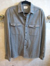 Vanishing Elephant CPO Jacket in 100% cotton grey herringbone size L NWOT