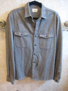 Vanishing Elephant CPO Jacket in 100% cotton bode grey herringbone size L NWOT