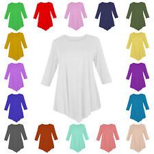 WVC Ladies Women V Cut Three Quarter Sleeve Round Neck Tunic Dress Swing Top