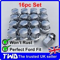 16x WHEEL NUTS - FORD (M12x1.5) ALLOY CHROME TAPERED SEAT 19MM HEX BOLT [16N]
