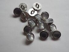 10pc 12mm Faux White Opal And Silver Shirt Wedding Knitwear Children Button 1170