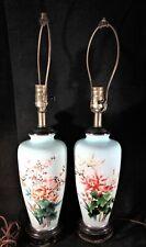 Pr.Large Antique Japanese Cloisonne Vase/Lamp Conversions. Floral Designs 24�t.
