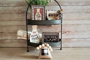 5 Piece Mini Sign Red Kitchen Set / Tiered Tray / Gift Set  Filler / Farmhouse