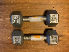 2 CAP 10 Lb Pound Cast Iron Hex Dumbbells  Free Weights 20 Pounds Total