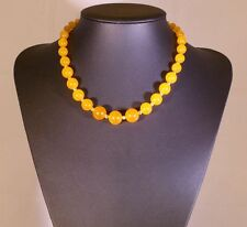 Amber Jade Stone Bead Necklace with Magnetic Clasp
