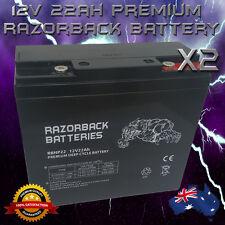 2x BRAND NEW 12V 22Ah Premium DeepCycle Razorback Battery SOLAR GOLF SCOOTER***