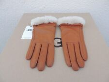 UGG CHESTNUT LEATHER/ SHEEPSKIN TOUCH SCREEN SMART GLOVES ~ LARGE ~ NWT