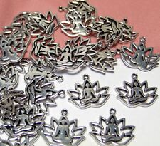 BULK LOT 50 SILVER YOGA LOTUS POSE CHARMS-ZEN-PENDANTS-DROPS-JEWELRY FINDING