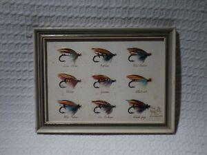Vintage Framed Salmon Fishing Flies Fly Display by F J G Riley London 1972