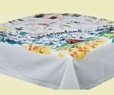 ReTrO Vtg Style VACATIONLAND States 100% Cotton Souvenir Kitchen TABLECLOTH