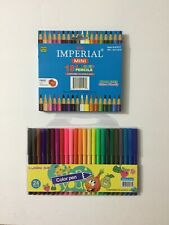 1 BOX WOOD FREE MINI 18 COLORED PENCILS WITH FREE SHARPNER + 24 CT COLOR PEN SET