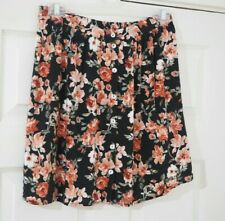 Forever21 Black Floral Print High Waist Button Thru Vintage Flared Skirt 10 - 12