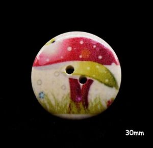 10 Large Natural Toadstool Design Wood Buttons Red Green 30mm Sewing Crafts 1032