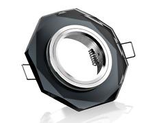 Einbaustrahler schwarz Kristallglas 8-eckig Schnellspannkopf für 12V u. 230V LED
