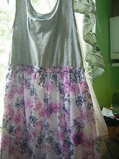 Girls DKNYSize XL Dress GrayTop MultiFloral Skirt w/WhiteLining Slvless  GUC