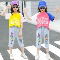 IENENS Fashion Kids Girls Outfits Sets Cotton T-shirt + Denim Pants Clothing