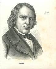 François-Vincent Raspail 1794-1878 chimiste député  Napoléon III GRAVURE 1883