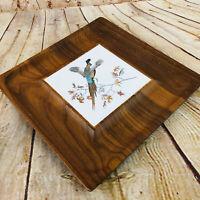 "Vintage Adams Dorset Vermont Wooden Tiled Tray Food Platter 12"" MCM"