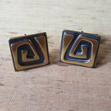 Vintage Hogen Bolas Modernist Tribal Bronze/ Brass Cufflinks Signed Rare
